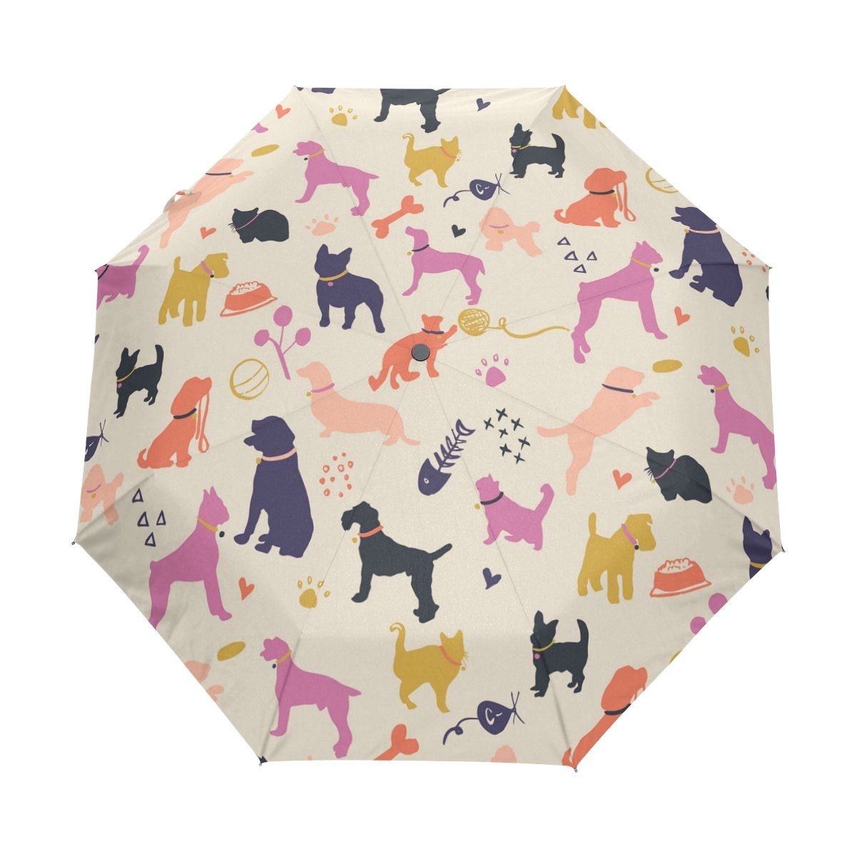 7da4b41a1154 LAVOVO Dogs and Cats Colorful Pattern Umbrella Double Sided Canopy ...