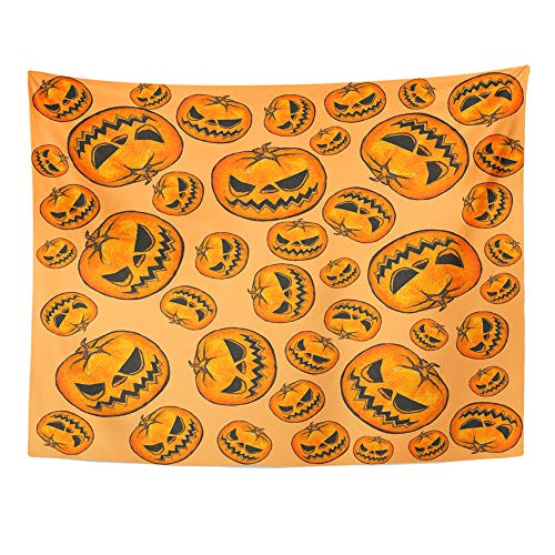 Emvency Tapestry Wall Hanging Polyester Fabric Orange Abstract Halloween Pumpkins Pattern Yellow Bat Home Decor for Living Room Bedroom Dorm 60x80 Inches