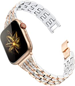 Goton Compatible for Apple Watch Band 38mm 40mm, Women Bling Diamond Rhinestone Metal Bracelet Replacement Strap for iWatch Band Series 5/4 / 3/2 / 1 (Rosegold, 38mm/40mm)