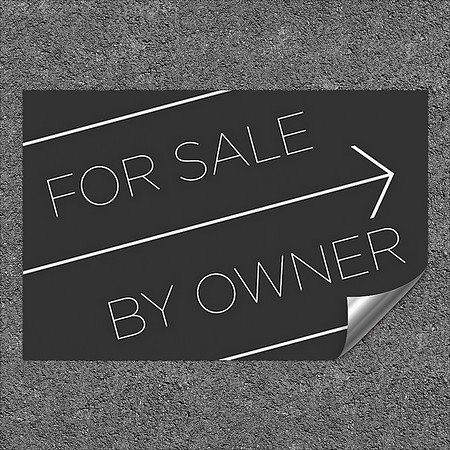 CGSignLab |''for Sale by Owner -Basic Black'' Heavy-Duty Industrial Self-Adhesive Aluminum Wall Decal | 36''x24''