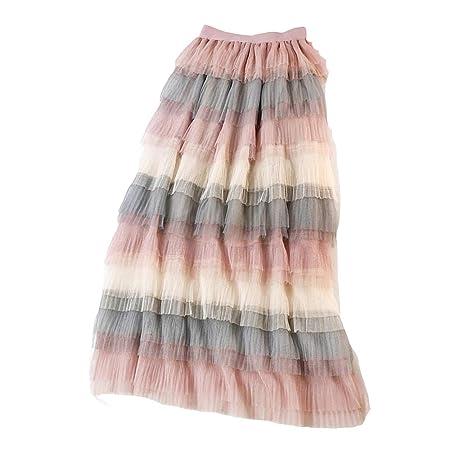 Owenqian Faldas de Mujer Plisadas Vintage Falda de Malla en ...