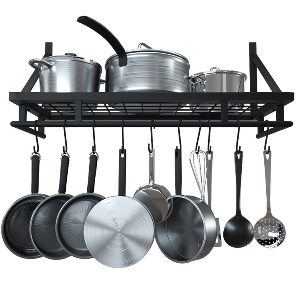 KES 24-Inch Kitchen Wall Mount Pot Pan Rack Wall Shelf With 10 Hooks Matte Black, KUR215S60-BK by Kes