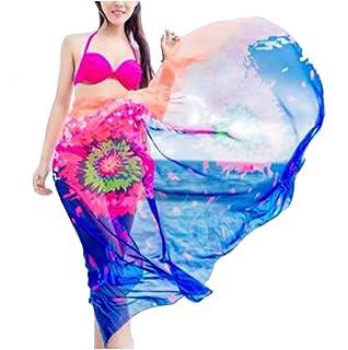 Veligoo Femme Écharpe de plage en mousseline de soie Beach Sarong Maillots de Bain Bikini Robe Maillot de Bain Imprimé (vert)