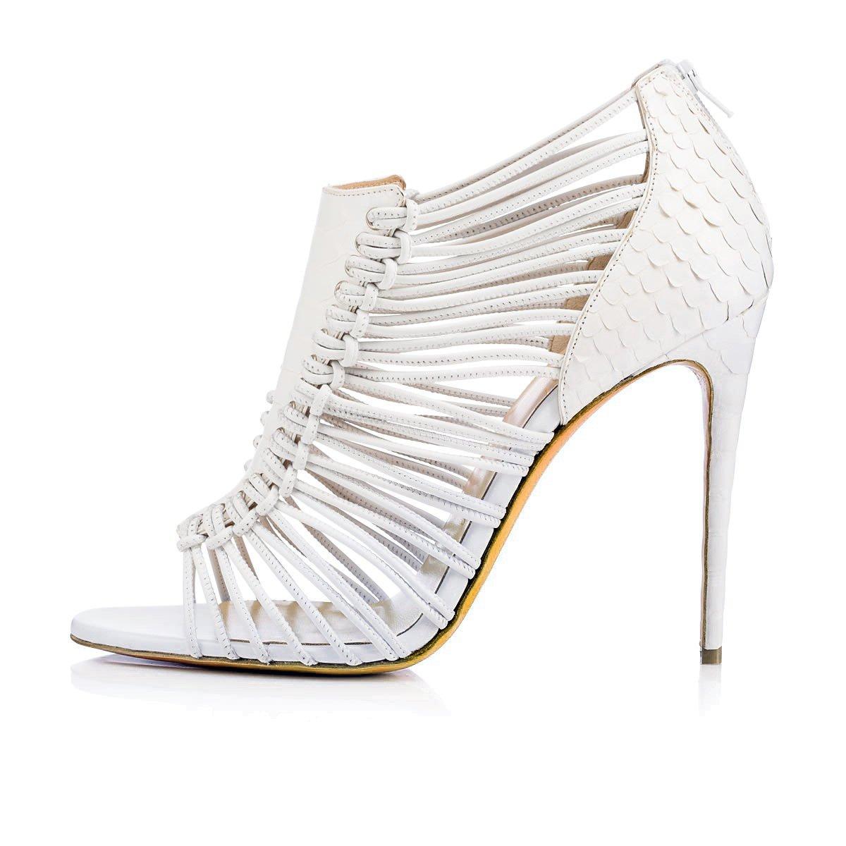 Scarpe Slingback da Donna Similpelle Summer Slingback Scarpe Cinturino alla Caviglia Stiletto con Fibbia sul Tallone White Party  Evening Un a421a3