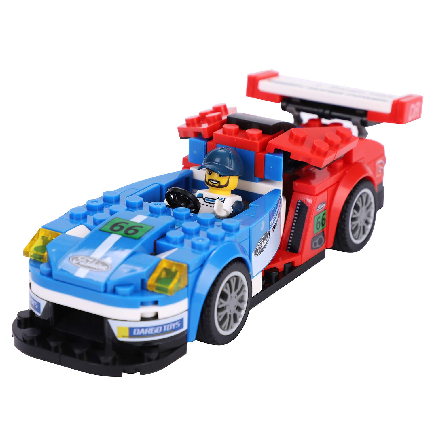 Super Cars Building Kits for Kids Toddlers STEM Construction Car Building Toys Vehicle Stacking Gear Blocks Games Traffic Early Learning Set Creative Funny Gift for boys girls with Driver Figure