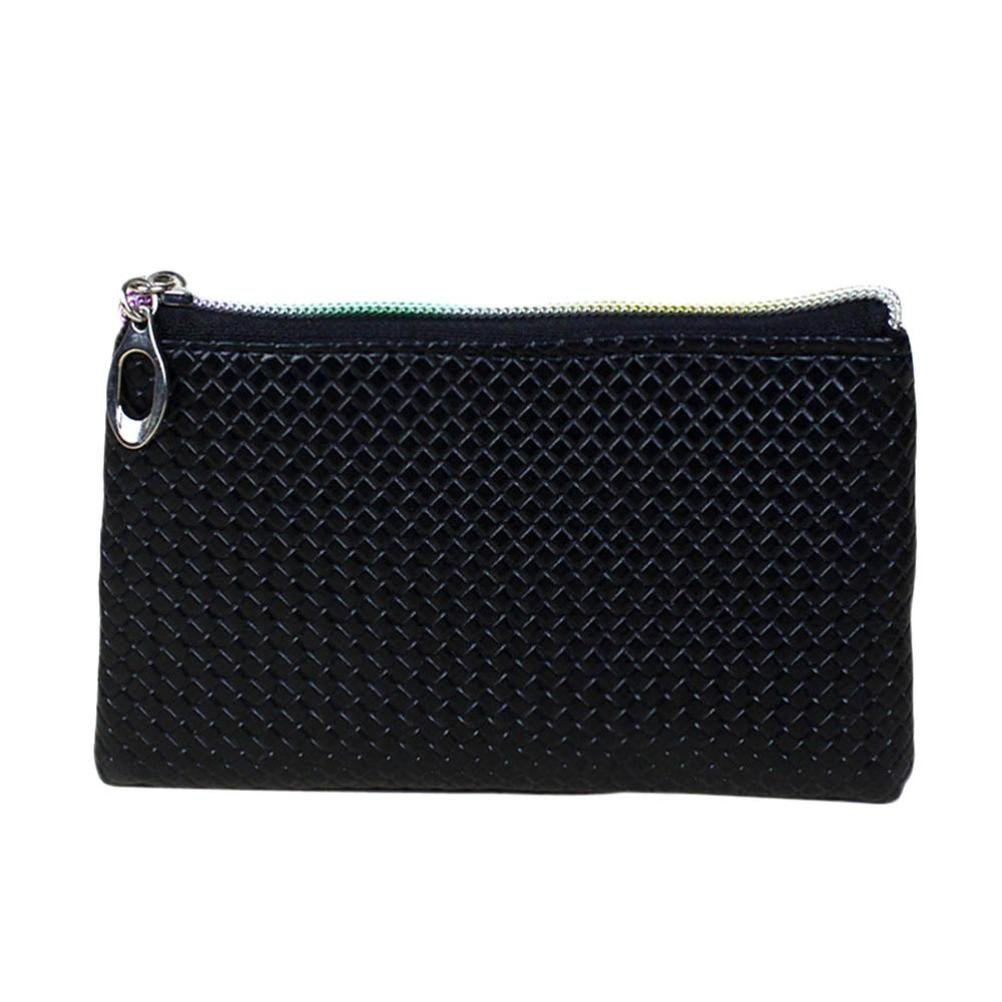 DZT1968(TM)Women Candy Color PU Leather Mini Square Wallet Coin Purses Money Bags Gift (Black)