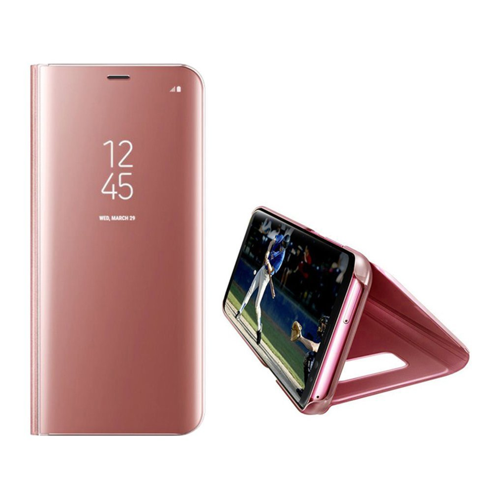COTDINFOR Samsung A8 2018 Funda Espejo Ultra Slim Ligero Flip Funda Clear View Standing Cover Mirror PC A8 2018 Blue Mirror PU MX. PU Cover Protectora Bumper Case para Samsung Galaxy A5