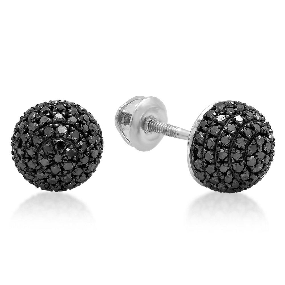 0.60 Carat (ctw) Sterling Silver Round Cut Black Diamond Ladies Half Ball Cluster Stud Earrings