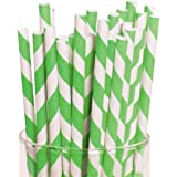 """Lime Green Striped Straws (24 Pack) 7 3/4"""". Paper."""