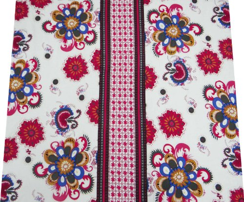 """White Cotton Poplin Fabric White Floral Print 42"""" Quilt Bedspread Art Sewing Fabric By 1 Yard"""