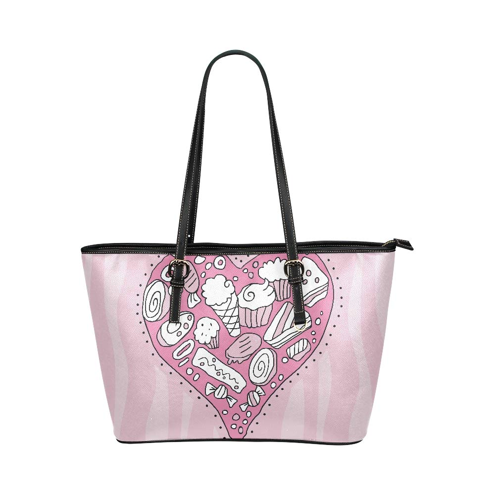 Pretty Love Pink Sweet Valentines Heart Large Soft Leather Portable Top Handle Hand Totes Bags Causal Handbags With Zipper Shoulder Shopping Purse Luggage Organizer For Lady Girls Womens Work