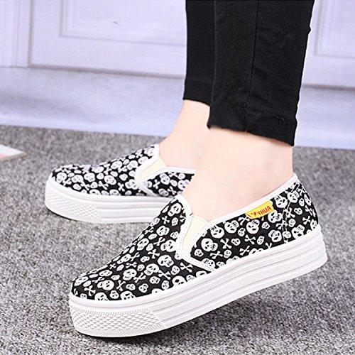 Femme Fille Imprimé Running Chaussures Souple Shoes Tennis Casual Toile Frestepvie Sport Bateau Noir Voile Mode Confort wI1tqWpWA