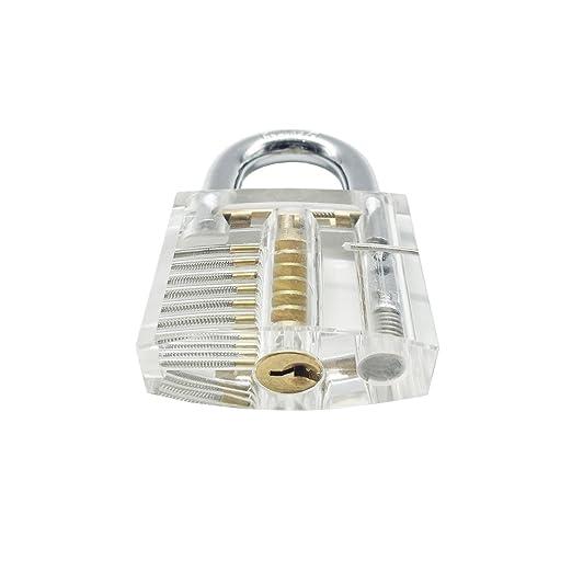 Teqin 13 Piezas Herramienta para Desbloqueo Transparente Professional Cutaway Práctica Candados con Dos Llaves Crochet Hook de Steel para Locksmith ...