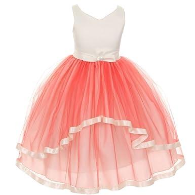 8e94ae4d6f02 KiKi Kids USA Little Girls Coral V-Neck Satin Bow 3 Layer Tulle Flower Girl