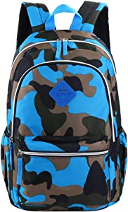 VBG VBIGER Unisex School Backpack Cute Book Bag for Girls Boys Large and Lightweight Daypack (Blue(camouflage))