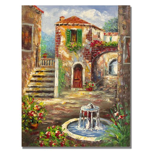 Tuscan Cottage by Master's Art, 18x24-Inch Canvas Wall Art