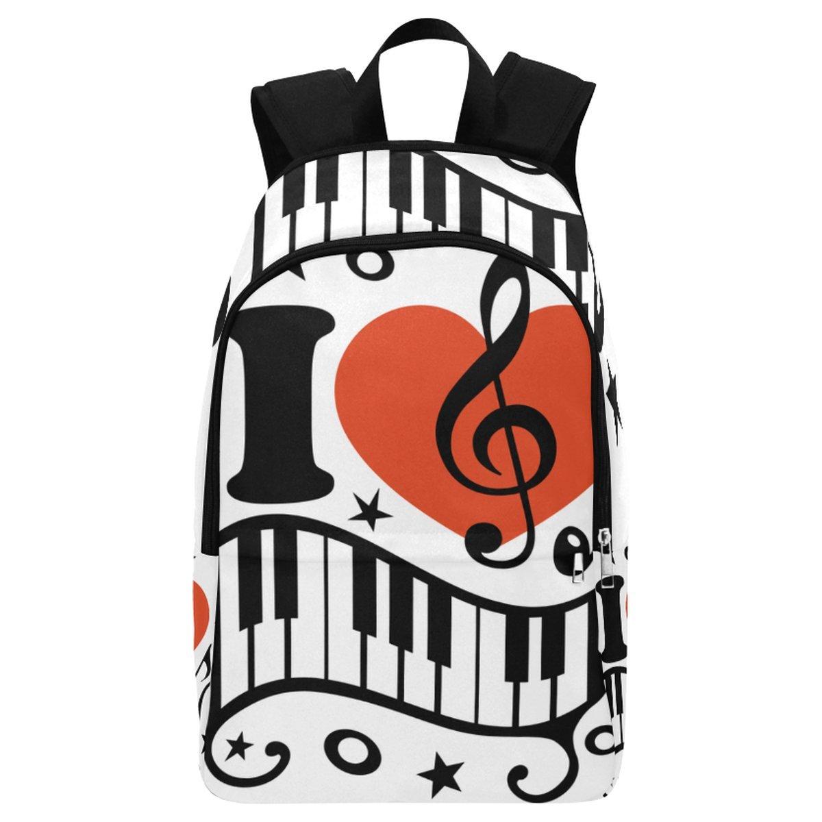 InterestPrint Custom Love Heart Music Note Piano Casual Backpack School Bag Travel Daypack