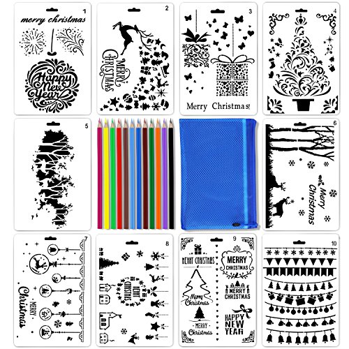 Christmas Stencils Set Reusable Plastic DIY Painting Template Drawing Craft on Wood Fabric Walls Art for School Project ()