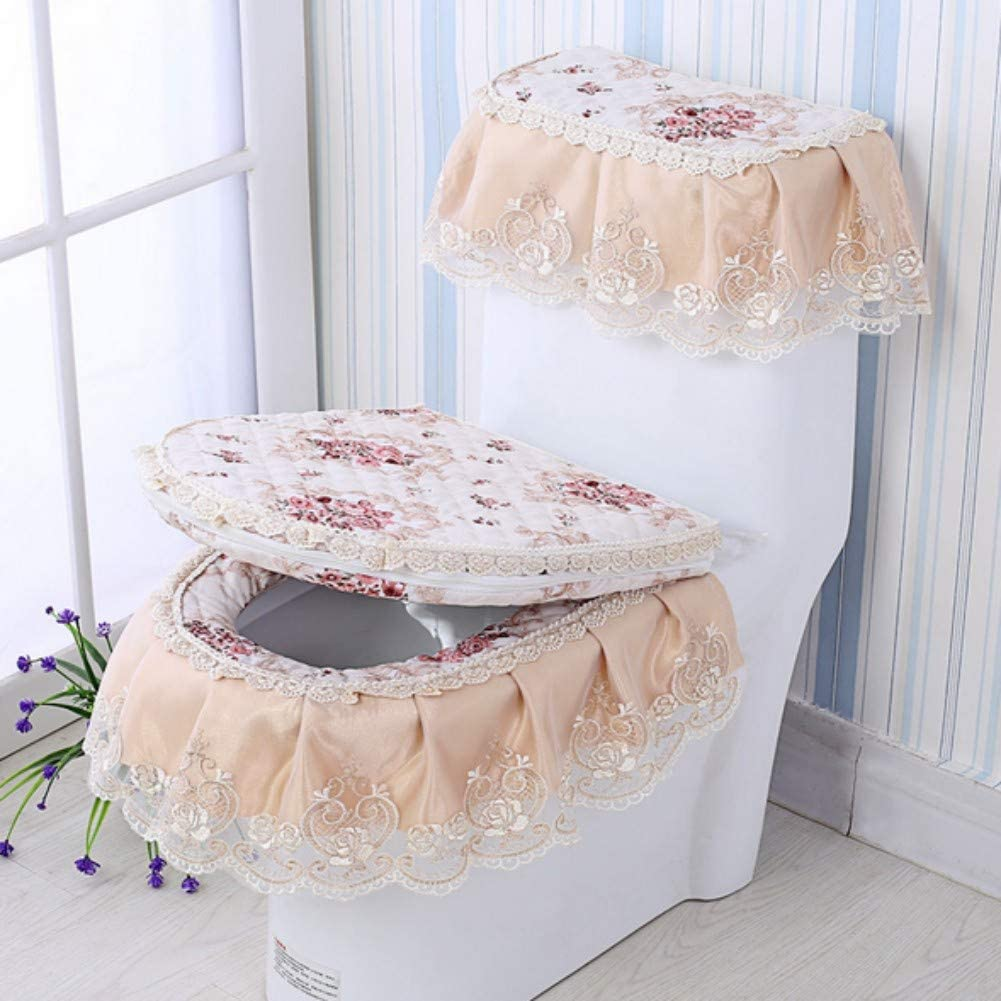 Toilet Seat Cover Embroidered Bathroom Decor Lid Cover KRWHTS Christmas Lace Embroidery Bath Accessories Velvet Tank Cover 1
