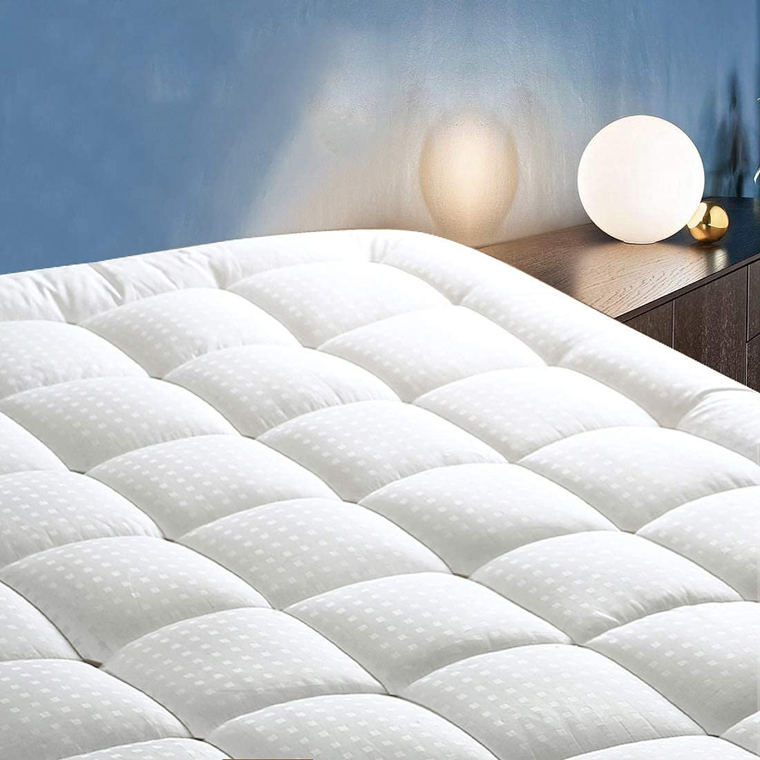 "COTTONHOUSE Queen Size Cooling Mattress Topper Pad Cover, Cotton Top Pillow Top with Down Alternative Fill (8-21"" Fitted Deep Pocket)"