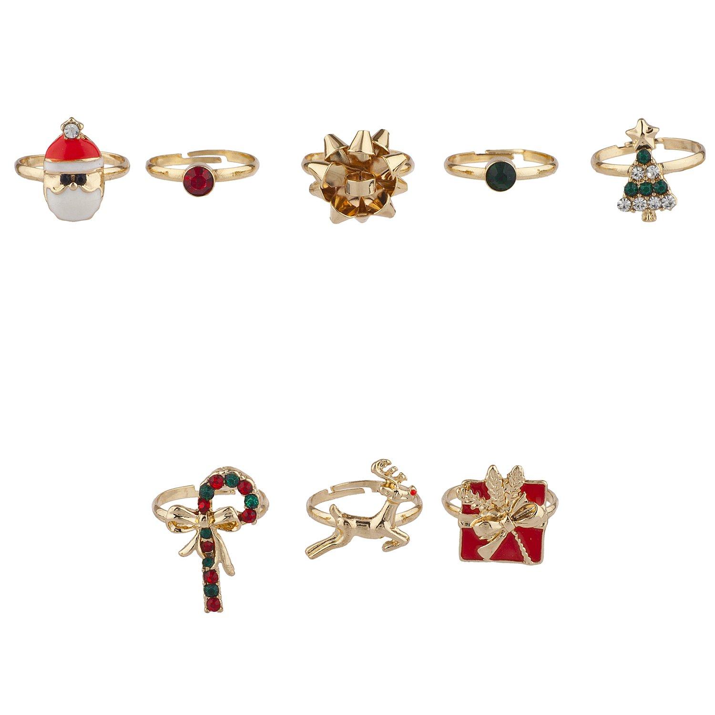 Lux Accessories dorato albero di Natale Natale festive Santa novità anello set 8PC R264435-1-R288
