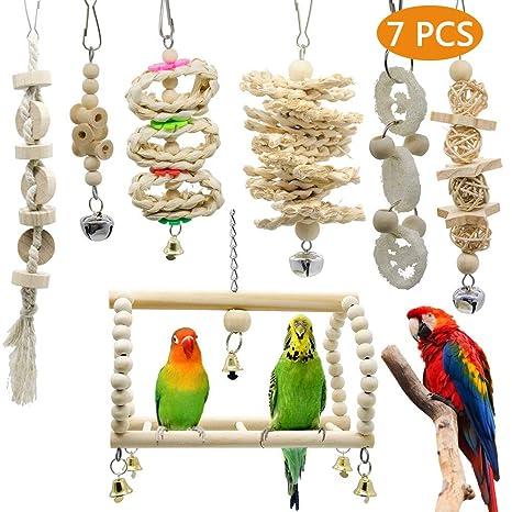 Scoolr - Juguetes para Masticar pájaros, 7 Piezas para Loros ...