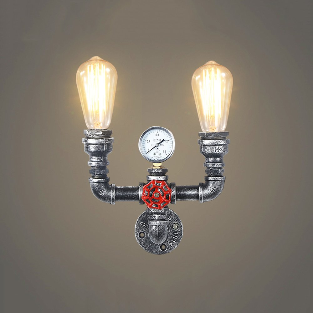 Water pipe wall lamp Retro wall lamp Industrial wall lamp Iron wall lamp Nordic style E27 bulb Bedroom Attic Bar balcony Basement Garage Storage room Height 7.1 Inch 31W-40W (Silver color)