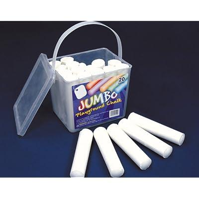 20 White Jumbo Playground Chalks for Kids | Teachers Classroom Craft Supplies: Toys & Games