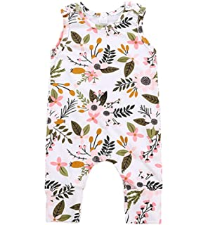Babywow Infant Baby Girl Bowknot Bodysuit Romper Jumpsuit Ruffle Sleeveless Halter Outfit