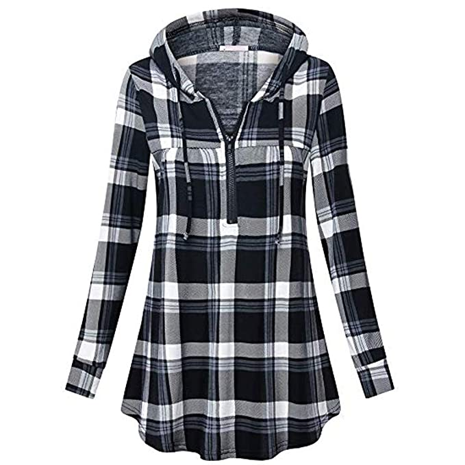 Amazon.com  Usstore Womens Hoodie Sweatshirt Fall Winter Casual Plaid  Zipper Full Sleeve Tunic Daily Pullover Shirt Blouse Tops  Clothing 8fac53ea9