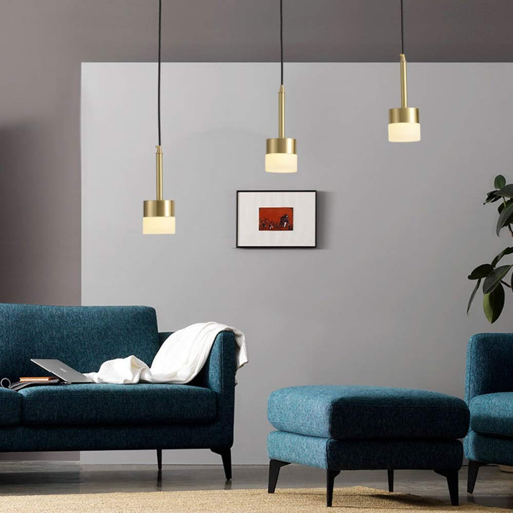 Chitty LED Copper Cylinder Ceiling Lamp Yellow Warm Light Chandelier Dining Living Room Study Bedroom Gold Simple Modern Personality Minimalism Creative (Color : C)