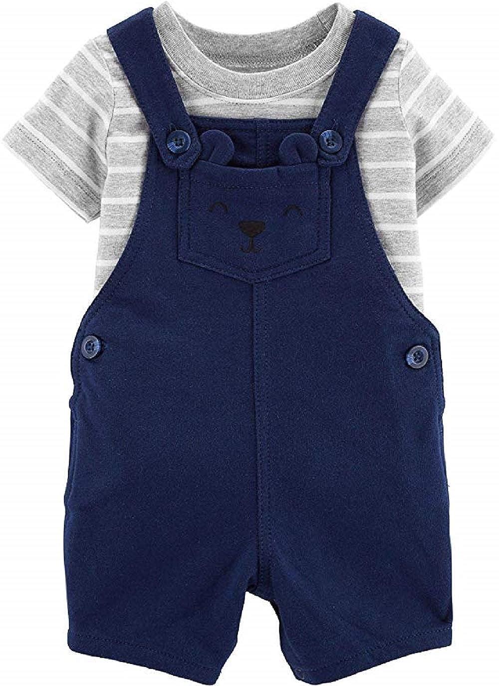 Blue 7 Gray Stripe Carters Baby Boy 2 Piece Overall Short Set