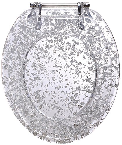 Ginsey  Elongated Resin Toilet Seat Chrome Hinges, Silver Foil