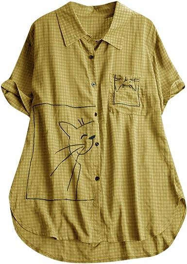Blusa Vintage de algodón con Bordado de Gato Retro, Cuello abatible, Manga Corta, Casual, Holgada, con Botones, Camiseta, Tallas Grandes L-5XL Amarillo Amarillo XXL: Amazon.es: Ropa y accesorios