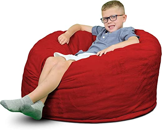 ULTIMATE SACK 3000 Bean Bag Chair Giant Foam-Filled Furniture – Machine Washable Covers, Double Stitched Seams, Durable Inner Liner, and 100 Virgin Foam. Comfy Bean Bag Chair. Red, Fur