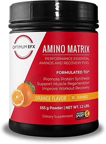 OPTIMUM EFX Amino Matrix, Performance Essential Aminos and Recovery Fuel, Intra Workout, Vegan, Informed Sport Certified, Zero Carbs, Zero Stimulants, Naturally Flavored Orange