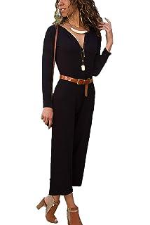 a744171e501 FairyMei Women s Work Formal One Shoulder Formal Jumpsuits Wide Leg Long  Romper Pants with Belt