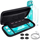 Womdee for Nintendo Switch Lite Case and Tempered Glass Screen Protector 2019, Portable Travel Carrying Case Slim Protective Hard Shell Storage for Nintendo Switch Lite Games/Accessories