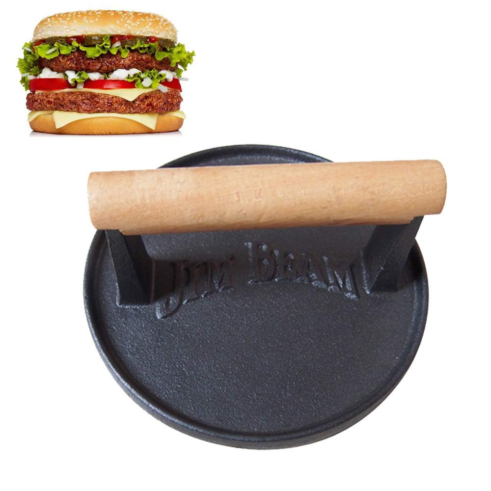 Cast Iron Hamburger Press - Heavy-Duty Patty Maker Burger Meat Press Mold with Wooden Handle,6.9-Inch Round