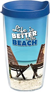 Tervis 1162356 Tropical Island Beach Insulated Tumbler with Wrap and Turquoise Lid 16oz Clear
