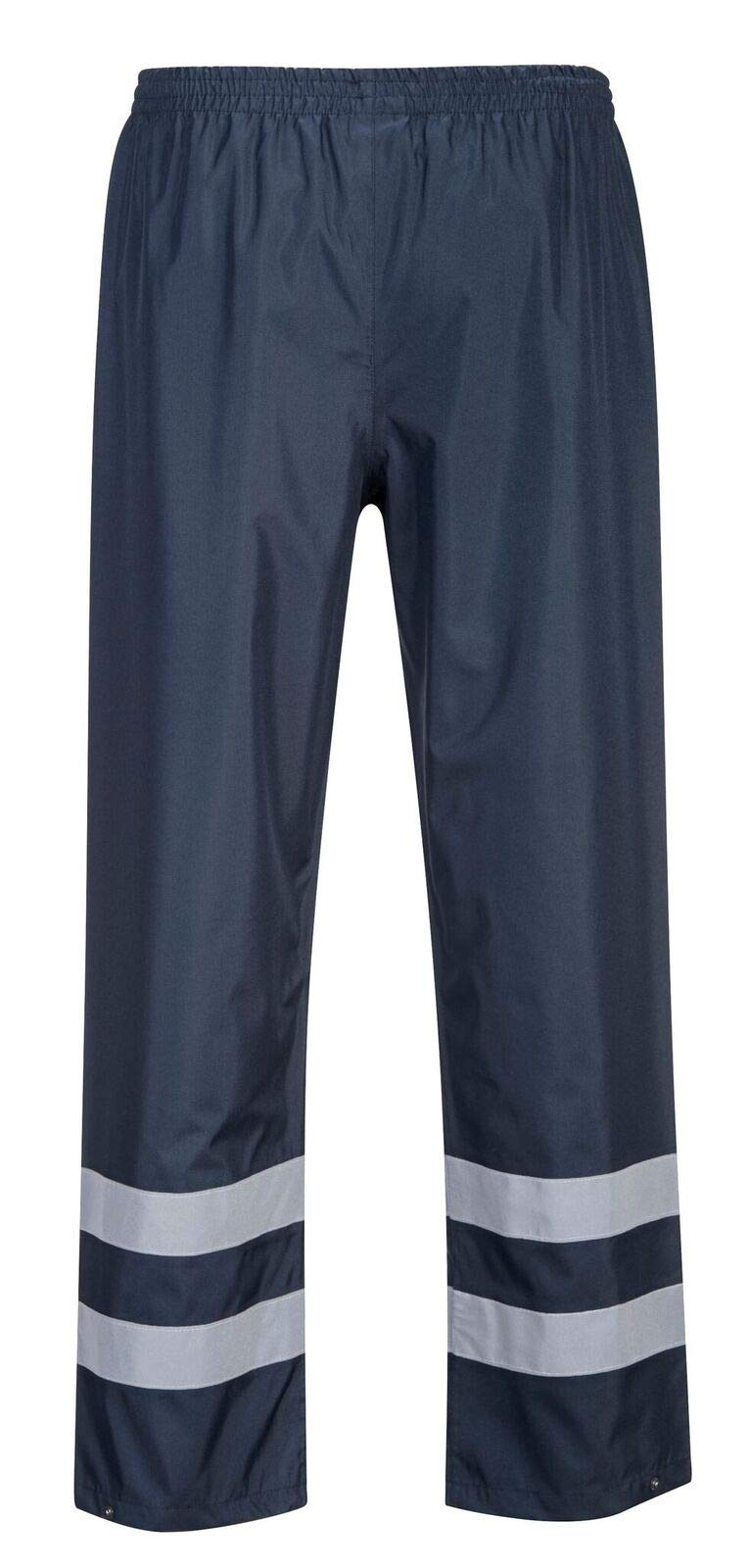 Brite Safety Work Pants - Rain Gear for Men and Women, Durable Waterproof Reflective Rain Pant (Navy,Small)
