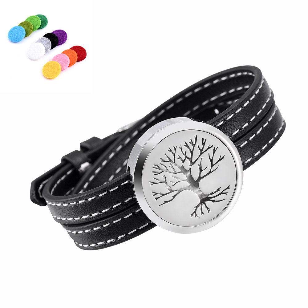 constantlife Adjustable Genuine Leather Band Bracelet Aromathrapy Jewelry Essential Oil Diffuser Fragrance Cuff Bangle (Black-Tree)