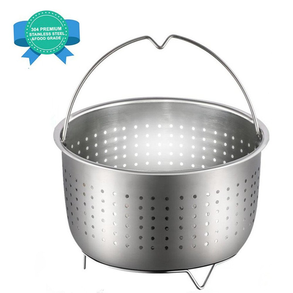 Steamer Basket for Instant Pot Accessories,Fits 6 or 8 Quart Pressure Cooker, 304 Stainless Steel Steamer Insert with Premium Handle, Great Kitchen Tool Accessory for Vegetables,Fruits,Eggs,Meats