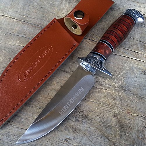 10-Hunt-Down-Brown-Wood-Handle-Fixed-Blade-Hunting-Full-Tang-Bowie-Knife-with-Leather-Sheath-Includes-FREE-LED-Key-Chain-Gift