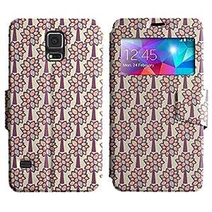Be-Star Diseño Impreso Colorido Slim Casa Carcasa Funda Case PU Cuero - Stand Function para Samsung Galaxy S5 V / i9600 / SM-G900F / SM-G900M / SM-G900A / SM-G900T / SM-G900W8 ( Sketchy Flower )
