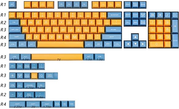 Keyboard keycaps 134 Key Yellow Blue Keycaps for Mx Switch Mechanical Game Keyboard Decoration Keycaps Profile ABS Keycap Color : Keycaps set8