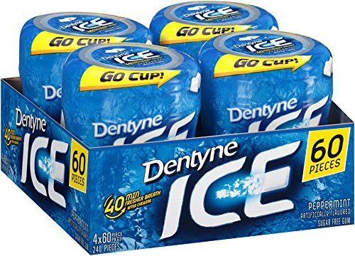 Ice Sugar Free Gum (Peppermint 60 Piece Pack of 4) (3 Pack 0f 4) by Dentyne