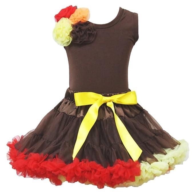 De acción de gracias vestido ramo Rosettes algodón camiseta marrón Rainbow falda Outfit 1 - 8Y: Amazon.es: Ropa y accesorios