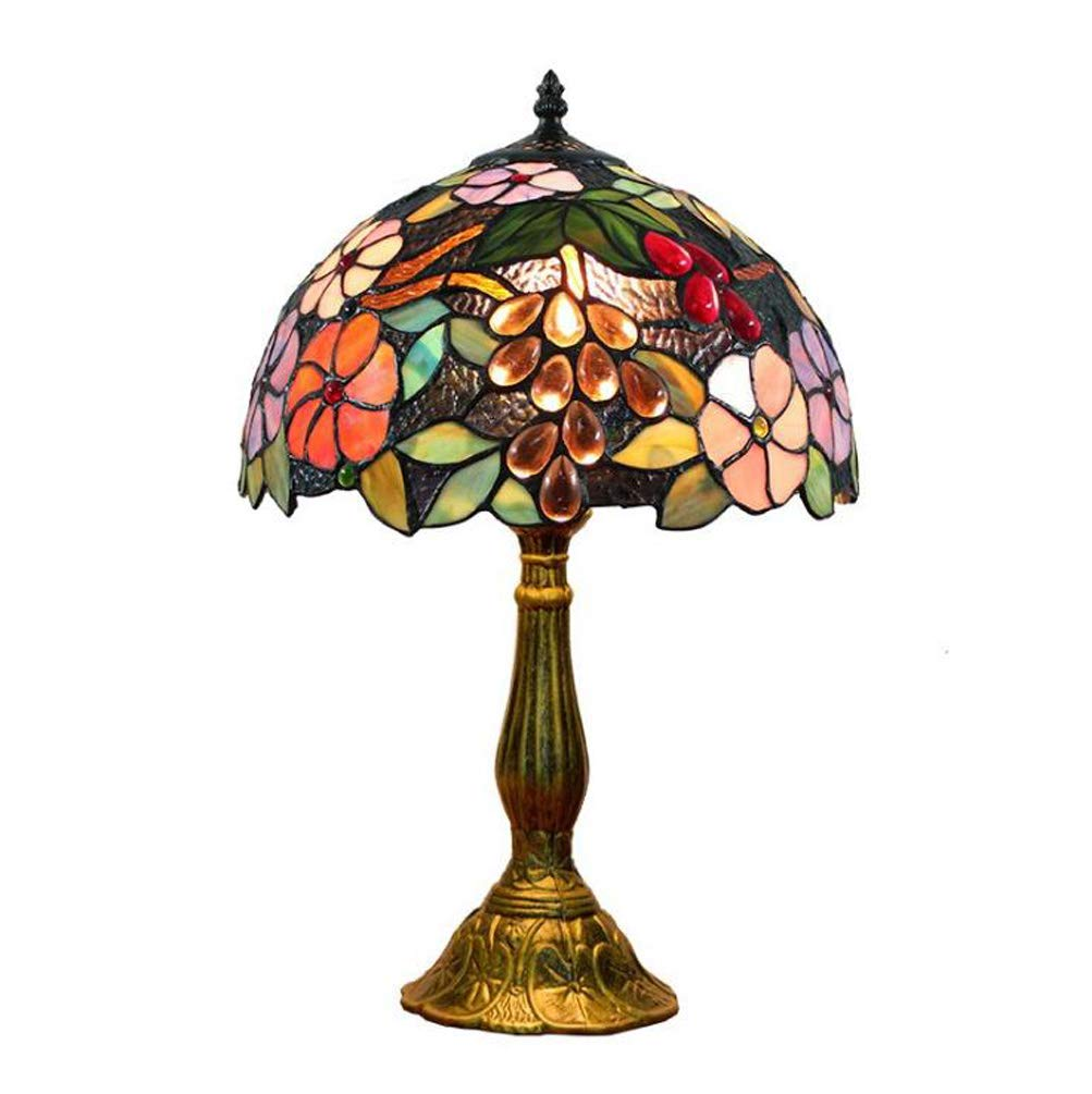 KUANDAR Light Colored Glass Table Lamp Idyllic Grape Style Suitable for Living Room Dining Room Study Room Bedroom Bathroom Corridor Balcony Stairs Path Hotel Restaurant Cafe Bar Library, Color