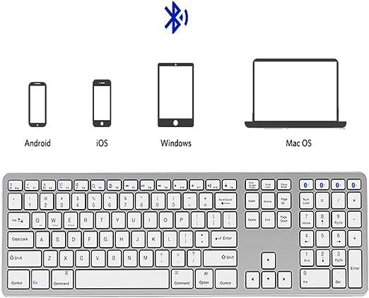 Teclado de Bluetooth, multi-dispositivo teclado portátil estándar ...